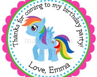 My Little Pony Personalized Stickers, Address Labels, Gift Tags, Hang Tags, Party Favors, Children, Seals- Set of 12