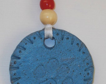 Blue or Brown Ceramic Paw Print Ornament With Bead Accents