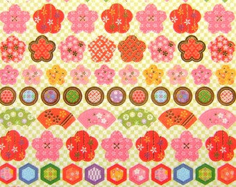 Japanese Washi Stickers  Plum Blossoms And Fans (S157)