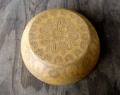 Antique Wooden Bowl With Decorative Carving
