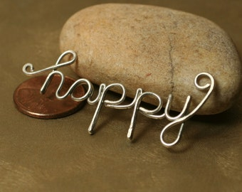 Handmade silver tone HAPPY pendant drop connector link charm, one piece (item ID SThappy104)