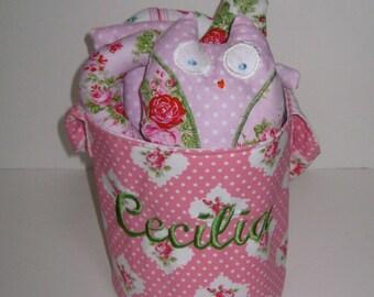 Little Owl Bucket with Stuffed Name and Owl