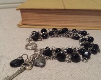 black beaded charm bracelet skeleton key bracelet multi chain bracelet