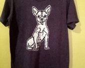 Chihuahua mens t shirt hand painted eco friendly batik vintage black - gift for him -