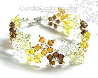 Swarovski bracelet, Yellow shade twisty Swarovski Crystal Bracelet by CandyBead
