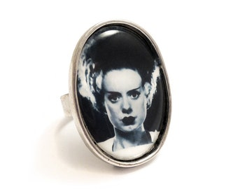 The Bride of Frankenstein ring gothic silver adjustable UNIVERSAL STUDIOS 1935 goth