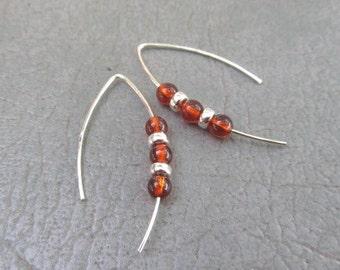 Cognac Amber & Sterling Earrings