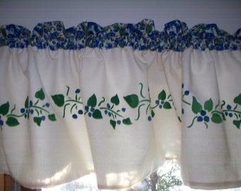 Maine made hand stenciled blueberry fruit kitchen decor lake lodge rustic curtain window valance