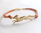 Golden Fox Jewelry Bracelet - Brass Fox Bracelet - Orange Cords - Autumn Fall - Under 25 - Fox Hunting - Gift for Her - Birthday Gift