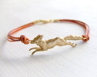 Golden Fox Jewelry Bracelet - Brass Fox Bracelet- Made in USA - Autumn Fall - Under 25