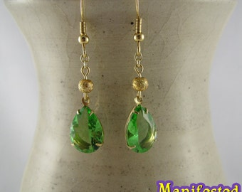 Green Crystal Earring gold tone Princess Jupiter Sailor Moon Cosplay