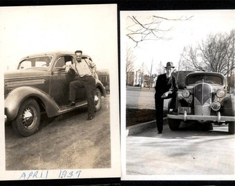 vintage photo 2 photos Men w 1939 Cars
