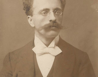 vintage photo 1899 Young Man w Mustache & Glasses Tuxedo