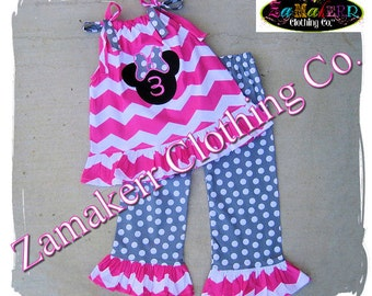 Custom Boutique Girl Minnie Mouse Outfit Set Pink Halter Pageant Birthday Clothing Chevron Top Pant Size 9 12 18 24 month 2T 3T 4T 5T 6 7 8