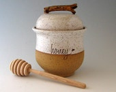 Honey Jar- Honey Pot with Dipper  - Wheel Thrown Pottery - Stoneware
