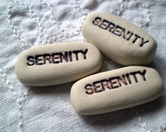 Serenity Pocket Words, Serenity Prayer, Wishing Stones, Clay words, Message Rock