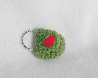 Crochet keychain Coin Cozy, coin holder, coin pouch, mini purse, coin purse, ring holder  - Green Apple
