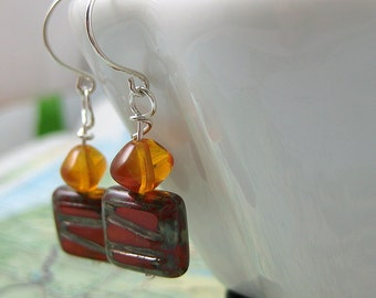 Viveka Earrings with Rustic Orange Wire-wrapped Picasso Czech Beads