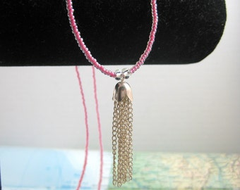 Long Beaded Pink Necklace with Tassel from the Sangha Collection