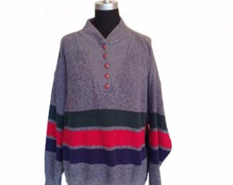 Vintage 1980s Triple Striped Button Lounge Sweater size L