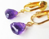 Amethyst Clip-on Earrings, Purple Triangle Gemstone Clipons, Faceted Geometric Dangle Clip Earrings, Handmade, Dainty Royal Gold
