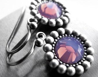 SALE - Purple Lilac Crystal Earrings, Cyclamen Opal Crystal Earrings, February Amethyst Purple, Bridesmaid Jewelry, Bridesmaid Earrings