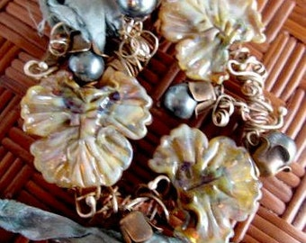 ORGANIC NOUVEAU Brooch Lampwork Leaf Beads Pearls Silver Wired Copper Rustic Metal