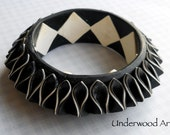 Polymer Bangle. Black and white. 3D art deco style
