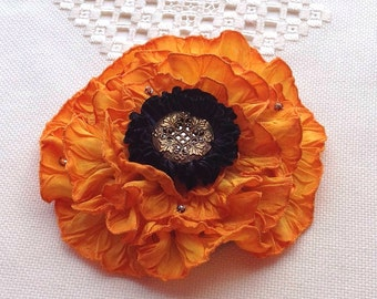 French Wired Ribbon Pin Golden Marigold Ombré Peony Antique Mirror Button Center in Pleated FWR