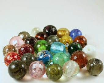 Multi Colored Foil Lampwork Glass Round Beads, Wholesale Bead Lots