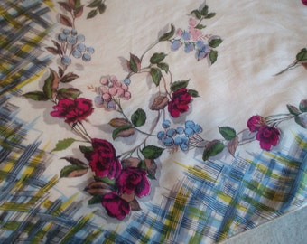 1940s Rose Garden Silk Scarf, Rockabilly, Mad MEn Office Fashion