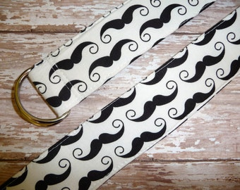 SAMPLE - Fabric Belt - D Ring - Mustaches - Size M - by Boutique Mia and More - Ready To Ship