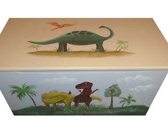Childrens wooden toy box - Prehistoric dinosaurs