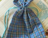 Two / Plaid Blue Fabric Drawstring Bags / Gift Bags / Party Favors