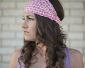 Wide, Funky Pink & White Headwrap Headbands for Women