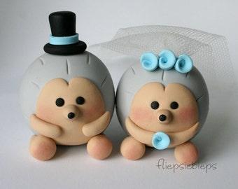 Custom Hedgehog Wedding Cake Topper (Grey)