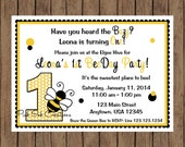 Bumble Bee Birthday Invitations / Bee Birthday Invitation / Bee Baby Shower Invitation / Bumblebee Invitations /Bee Birthday Party/PRINTABLE