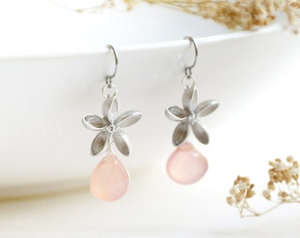 Hawaiian Earrings, silver frangipani flower with pink chalcedony tear drop, tropical plumeria floral, bridesmaid gift, lightweight