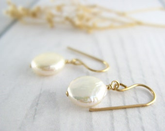 Coin Pearl Earrings - genuine freshwater white pearl drop, bridal jewelry available in gold, silver and bronze, bridesmaids gift