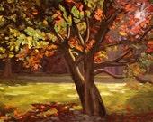 Autumn Tree Original 15x30 Oil Painting
