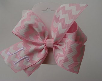 Chevron Monogrammed Initial Custom Boutique Pink monogram hair bow zig zag
