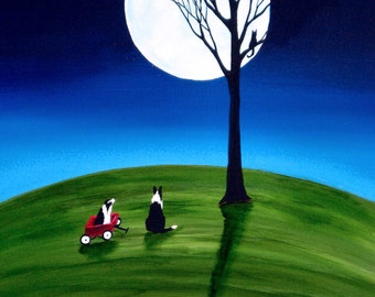 Border Collie Dog Folk Art PRINT by Todd Young BLUE MOON