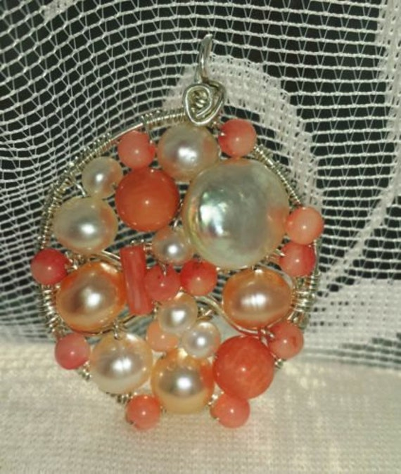 Wire wrapped Sterling silver one-of-a-kind Salmon Coral Pearl Pendant