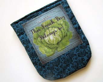 Turquoise with Lettuce Snack Bag