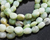 Half or Full Strand, Green Peruvian Opal Faceted Oval Beads, 10x8MM