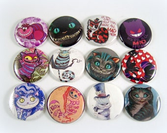 "1"" Inch Cheshire Cat Flatback Buttons, Pins, Magnets 12 Ct."