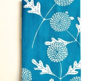 Bottle Green Chrysanthemums Tea Towel