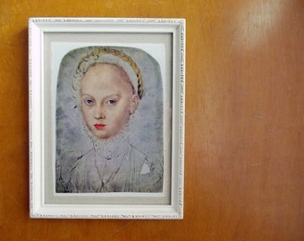 Vintage Portrait Print of Antique Painting, Girl with Ruffle Collar - Elizabeth of Saxony by Cranach the Younger (1500s). Framed Wall Art
