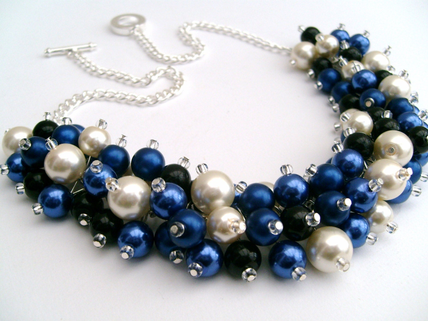 Cobalt Blue Pearl Beaded Necklace With Black And Ivory