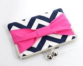Chevron Ipad mini case, Ipad mini cover, Ipad mini sleeve - Pink Bow